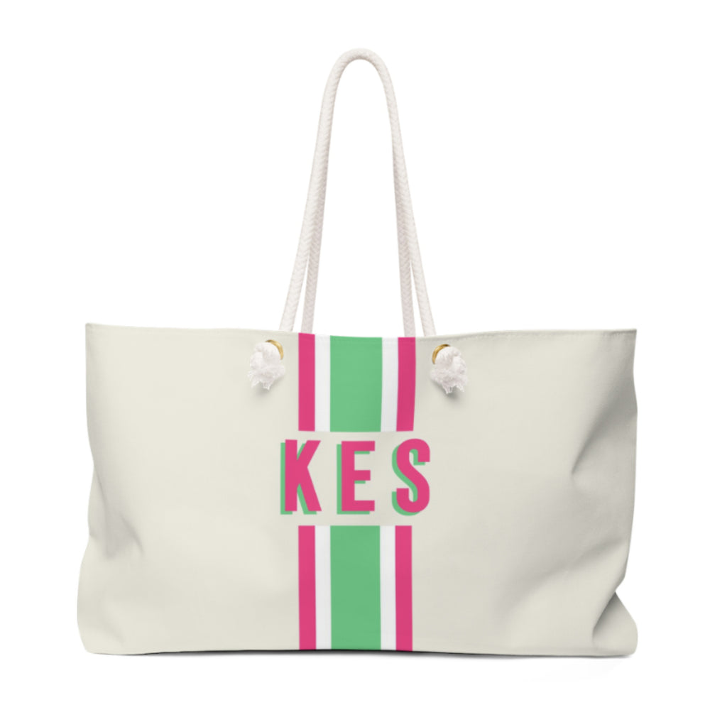 Stripe Green/Pink Travel Tote