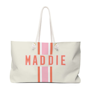Stripe Pink/Orange Travel Tote