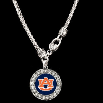 Auburn Tigers Round Crystal Logo Clasp Necklace