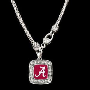 Alabama Crimson Tide Square Crystal Clasp Necklace
