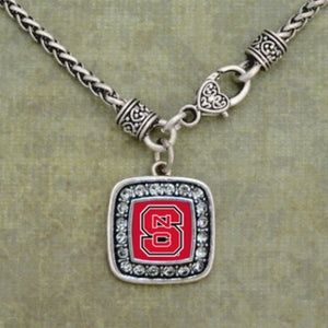 NC State Wolfpack Square Crystal Clasp Necklace
