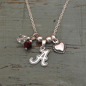 Alabama Crimson Tide 3 Charm Austrian Crystal Necklace