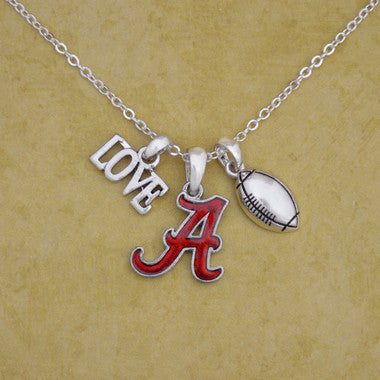 Alabama Crimson Tide Touchdown 3 Charm Iridescent Football Necklace