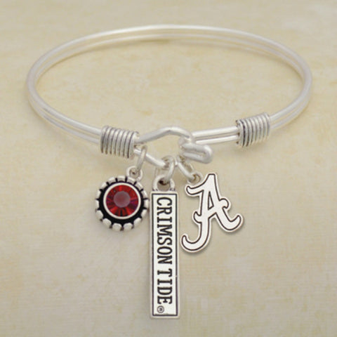 Alabama Crimson Tide Tri Bangle 3 Charm Crystal Silver Wire Bracelet