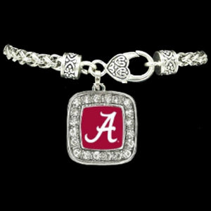 Alabama Crimson Tide Square Crystal Charm Bracelet