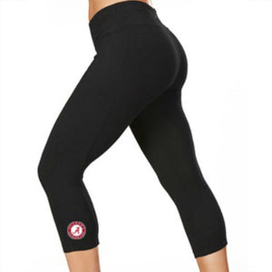 Alabama Crimson Tide Black Capris Leggings