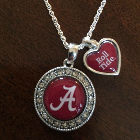Alabama Crimson Tide Crystal Necklace With Slogan Heart