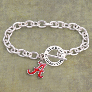 Alabama Crimson Tide Toggle Charm Bracelet