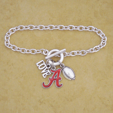 Alabama Touchdown 3 Charm Iridescent Football Bracelet