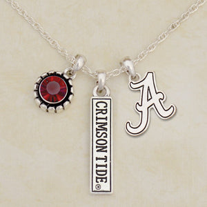 Alabama Crimson Tide Tri Charm Crystal Silver Necklace