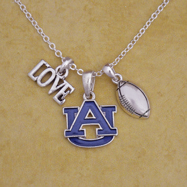 Auburn Tigers Touchdown 3 Charm Iridescent Football Necklace