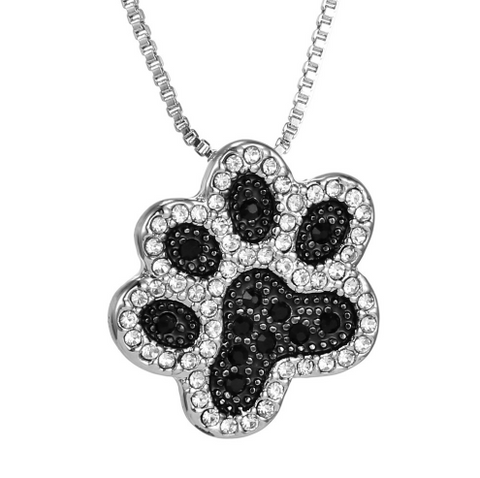 Black and White Crystal Dog Paw Necklace