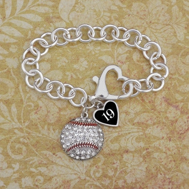 Crystal Baseball Bracelet With Custom Number and Heart Clasp