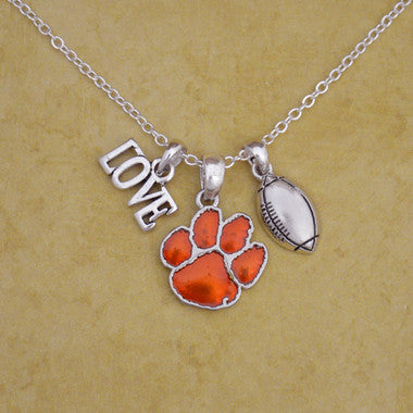 Clemson Tigers Touchdown 3 Charm Iridescent Football Necklace