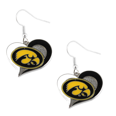 Iowa Hawkeyes Heart Dangle Earrings