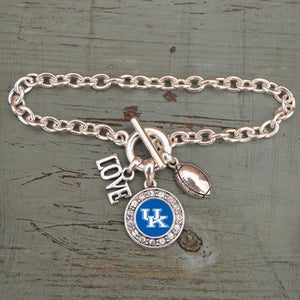 Kentucky Wildcats Love Basketball Bracelet With Round Crystal Logo