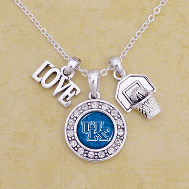 Kentucky Wildcats Love Basketball Necklace With Round Crystal Logo