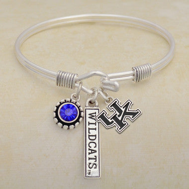 Kentucky Wildcats Tri Bangle 3 Charm Crystal Silver Wire Bracelet