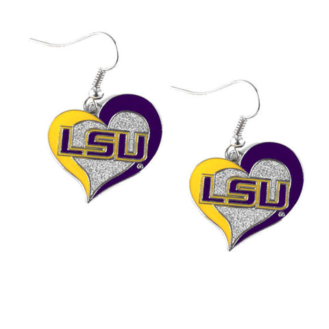 LSU Tigers Heart Dangle Earrings