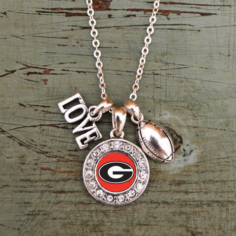 Georgia Bulldogs Love Football Necklace With Round Crystal Logo