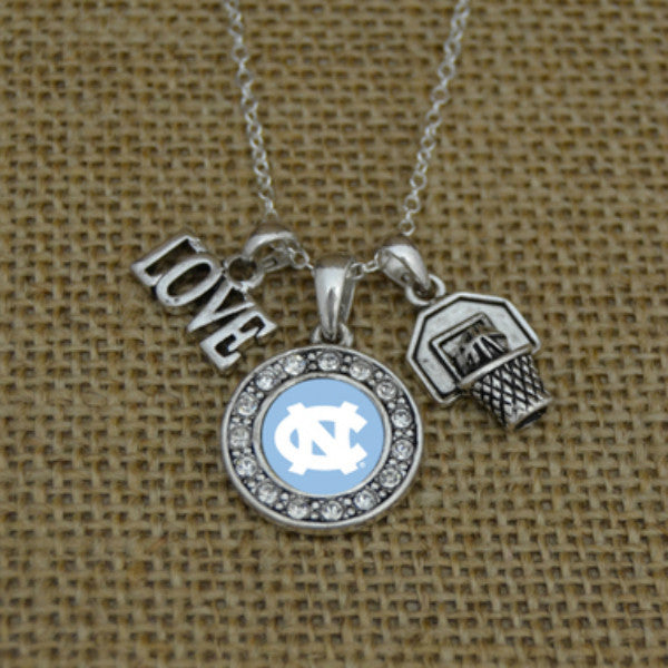 North Carolina Tar Heels Love Basketball Necklace With Round Crystal Logo