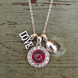 South Carolina Love Football Necklace with Round Crystal Logo