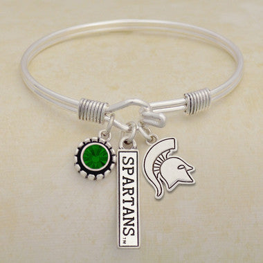 Michigan State Spartans Tri Bangle 3 Charm Crystal Silver Wire Bracelet