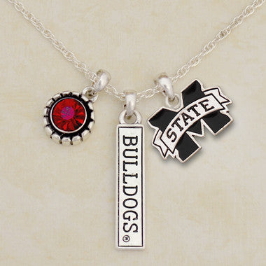 Mississippi State Bulldogs Tri Charm Crystal Silver Necklace