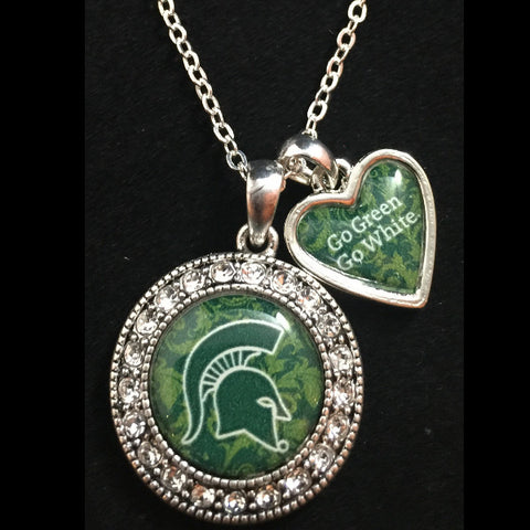 Michigan State Spartans Round Crystal Logo Necklace with Slogan Heart