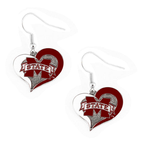 Mississippi State Bulldogs Heart Dangle Earrings