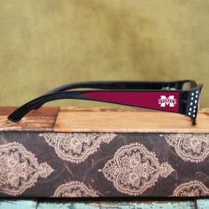 Mississippi State Bulldogs Womens Reading Glasses with Crystals