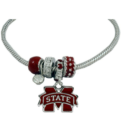 Mississippi State Bulldogs Beaded Charm Necklace
