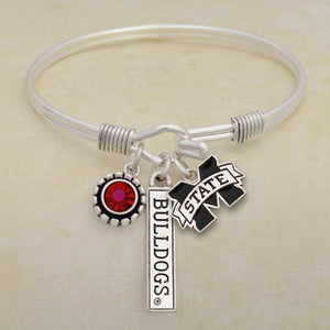 Mississippi State Bulldogs Tri Bangle 3 Charm Crystal Silver Wire Bracelet