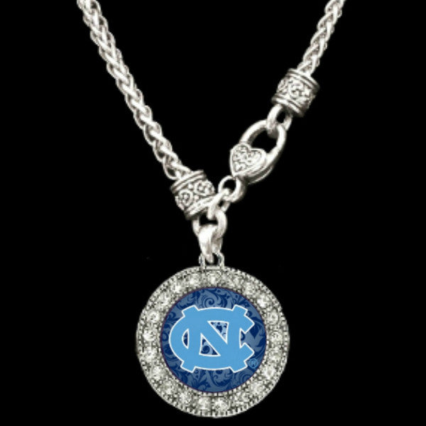 North Carolina Tar Heels Round Crystal Clasp Necklace