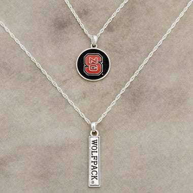 NC State Wolfpack Double Necklace with Iridescent Logo and Team Name Charm
