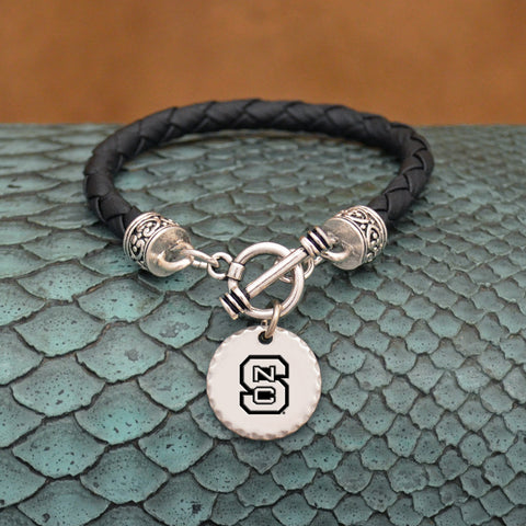 NC State Wolfpack Leather Bracelet with Charm
