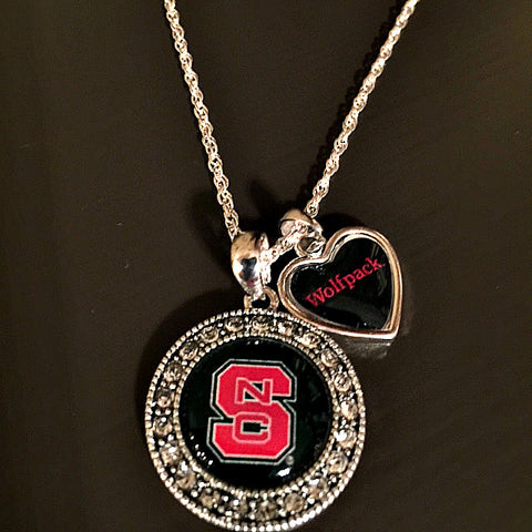 NC State Wolfpack Crystal Necklace With Slogan Heart