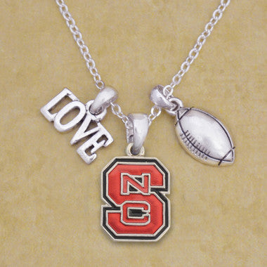 NC State Wolfpack Touchdown 3 Charm Iridescent Football Necklace