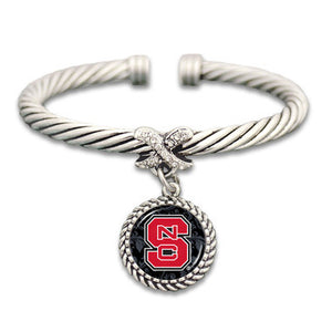 NC State Wolfpack X Bangle Cuff Bracelet With Domed Circle Logo