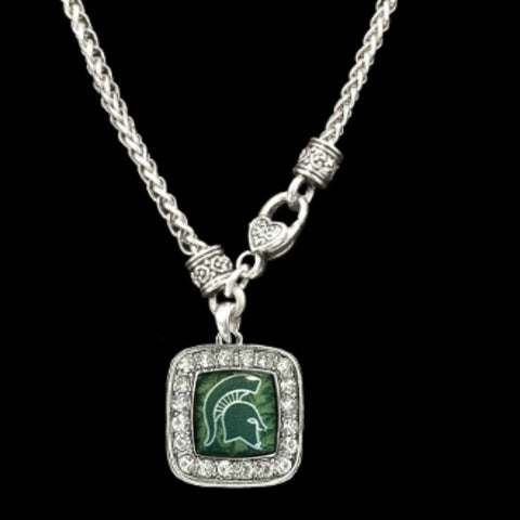 Michigan State Spartans Square Crystal Clasp Necklace