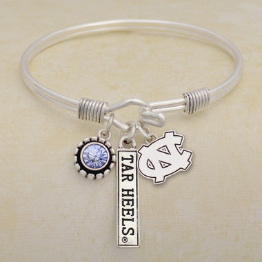 North Carolina Tarheels Tri Bangle 3 Charm Crystal Silver Wire Bracelet