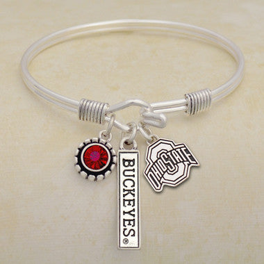 Ohio State Buckeyes Tri Bangle 3 Charm Crystal Silver Wire Bracelet