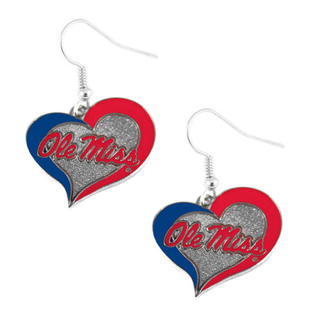 Ole Miss Rebels Heart Dangle Earrings