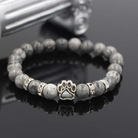 Natural Stone Stretch Yoga Bracelet with Paw