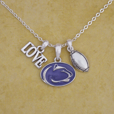Penn State Nittany Lions Touchdown 3 Charm Iridescent Football Necklace