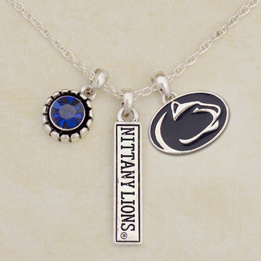 Penn State Nittany Lions Tri Charm Crystal Silver Necklace