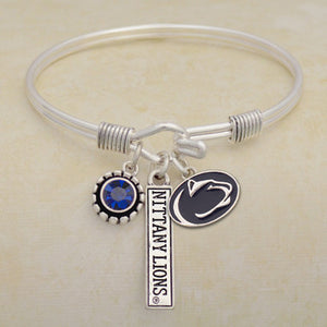 Penn State Nittany Lions Tri Bangle 3 Charm Crystal Silver Wire Bracelet