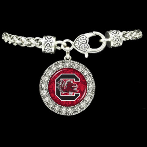 South Carolina Gamecocks Round Crystal Bracelet