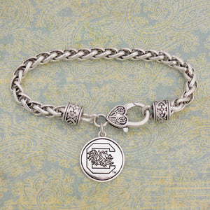 South Carolina Gamecocks Silver Medallion Bracelet