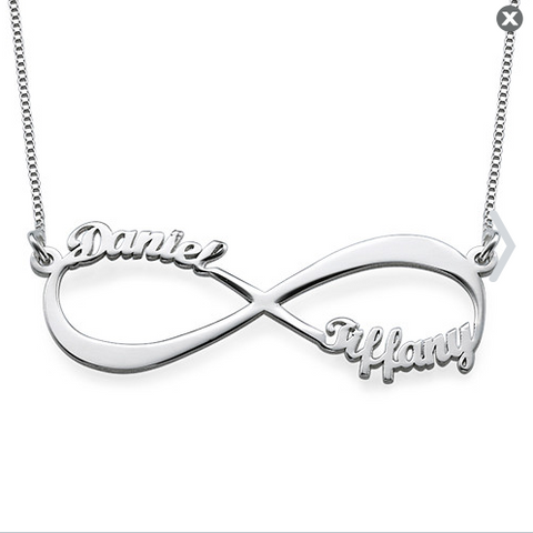 Personalized Sterling Silver Two Name Infinity Necklace